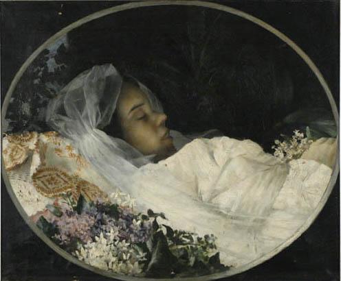 Vlaho Bukovac, Gospođa Tartaglia na odru, 1885.